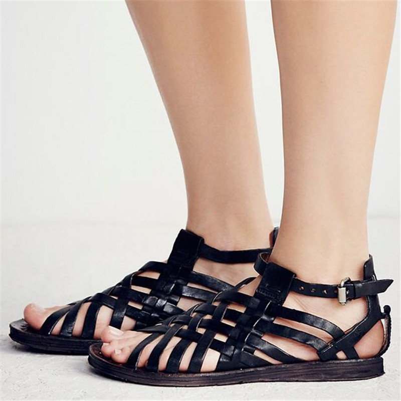 55072b4d4cbde Prova Perfetto Real Leather Do Old Retro Women Sandals Handmade Narrow Band  Woven Flat Shoe Women Ankle Strap Gladiator Sandals-in Low Heels from Shoes  on ...