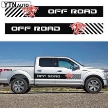 car decals 2PC side door OFF ROAD tiger head stripe graphic Vinyl accessories sticker custom for F150 raptor 2015-2018