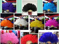 wholesale 1pcs natural Ostrich Feather Fan for Belly Dance Halloween Party Ornament Necessary 13 Bones Fan stage performance diy