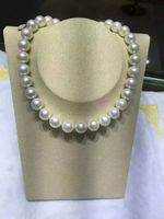 18 Huge AAA 12 13mm south sea Round white pearl necklace k WHITE GOLD CLASP