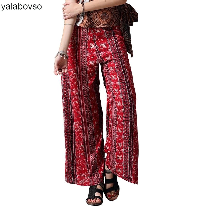 Lino Sml X2221 Z20 Mujer Pantalón De A50 Ancho Impresión Patchwork Casuales Lado Pantalones Slit Flores Para nrfrR