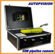 "50m Cable 7"" TFT LCD Sewer Pipeline Endoscope Inspection Snake Camera Steel Lens IP68 Waterproof with dvr function"