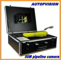 50m Cable 7'' TFT LCD Sewer Pipeline Endoscope Inspections Snake Camera Steel Lens IP68 Waterproof with dvr function No battery