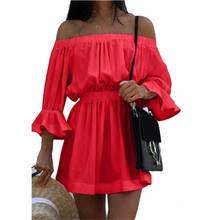 Short Sexy Slash Neck Mini Dress Sleevelee Slim Party Dresses Women Solid Fashion Striped Straight Ladies New