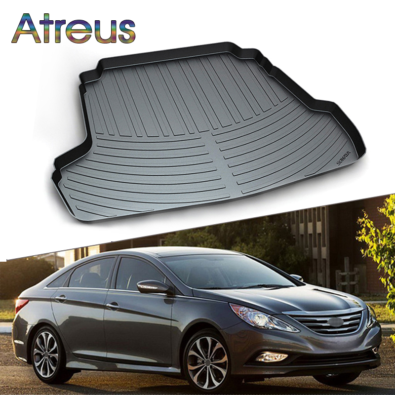 Atreus Car Rear Trunk Floor Mat Durable Carpet For Hyundai Sonata 2010 2011 2012 2013 2014 Liner Tray Waterproof Anti-slip mat atreus anti slip car rear trunk floor mat durable carpet for hyundai ix35 creta ix25 santa fe sonata elantra tucson 2018 2017