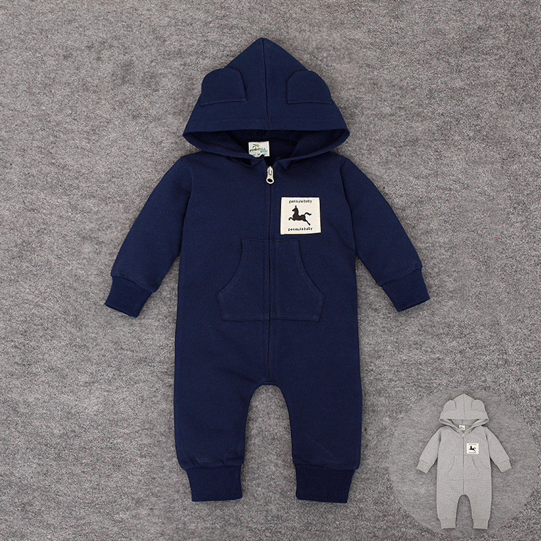 Baby Zipper Rompers Newborn Hooded Sleepwears Long Sleeve Outwear Clothes for Boys & Girls Autumn & Winter Children Overall Coat baby rompers 2016 spring autumn style overalls star printing cotton newborn baby boys girls clothes long sleeve hooded outfits