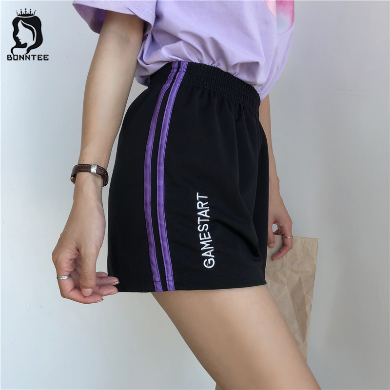 Shorts Letter Embroidery Korean Style Sweet Elastic Waist Loose Striped Women Short Womens Pockets Summer New Fashion Sweet Girl