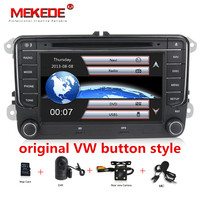 In Stock 7 inch Touch Screen 2din Car DVD VW Golf Polo Jetta Passat Tiguan with GPS Bluetooth Radio USB SD Steering wheel