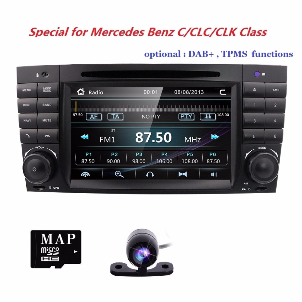 HIZPO 2 DIN Car DVD GPS DAB+for Mercedes Benz C/CLK/CLC KLASSE <font><b>W203</b></font> W209 C180 <font><b>C200</b></font> radio stereo autoaudio multimedia rds cam swc image