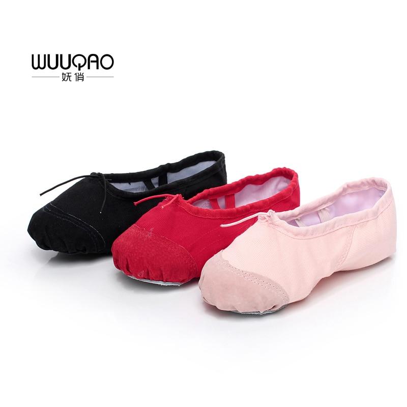 Zapatos de baile de punto para ballet para niños y adultos Zapatos de baile de ballet profesional para mujer Zapatos de ballet de suela blanda para damas Promoción