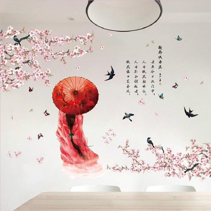 Style chinois beauté Stickers muraux pour chambre décoration de la maison canapé fond avion Pastrol Mural porte bricolage wallaffiches vente