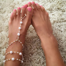 new fashion gorgeous simulated-pearl weaving anklets for women Girl Party Anklet Pins Jewelry Wholesale Free Shipping