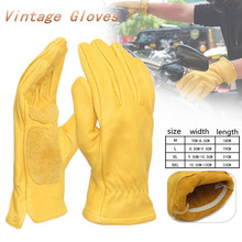 Pair Universal Leather Motorcycle Bicycle Gloves Yellow Working Welding Warm Gloves Protection