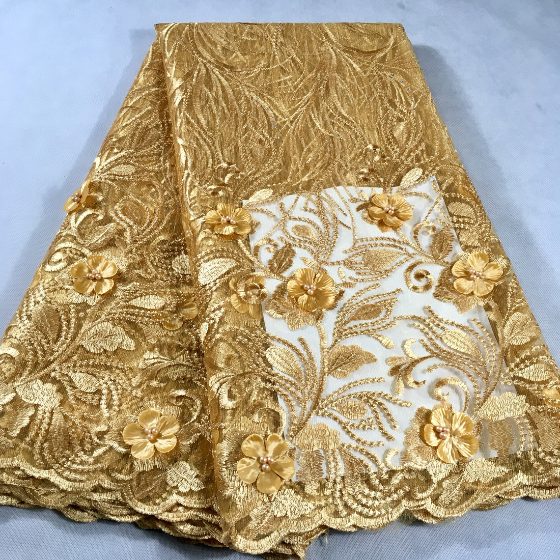 Gold African Lace Fabric 2019 Embroidered Nigerian Wedding Lace Fabric High Quality French Tulle Lace Fabric Beads Stones LHX11D