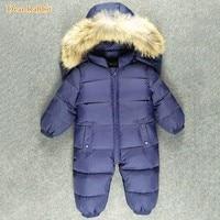 Newborn Baby coat Snowsuit Natural Fur Hooded Infant Boys Girls Winter Snow Wear 90% White Duck Down Jackets Outwear Jumpsuits