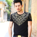 baiye new fashion men's T shirt brand gilt pattern men short sleeve T-shirt Slim