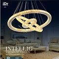 Nueva venta caliente de Diamantes 3 anillo oval LED K9 cristal LED colgante luces Crtstal lámpara dormitorio luces