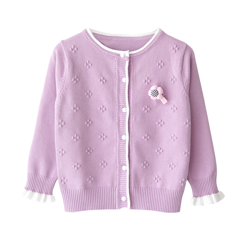 Cute Cardigan For Girls With Flower Ornament Kids Sweater Outer Wear ...