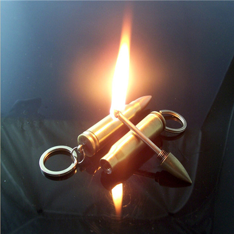 2pcs Stainless Steel Match Lighters Keychain Lighter Fire Starts Without oil
