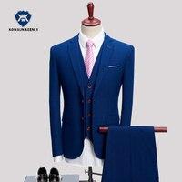 3 Stuk Mannen Pak 2018 Slim Fit Marineblauw Bruidegom Suits Voor Mannen Classic Tuxedos Pakken Formele Slijtage