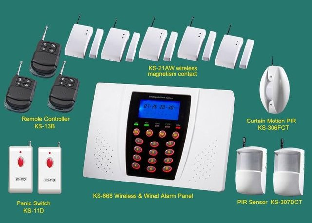 8 wireless sensors alarm systems | with panic switch alarm | home security kits | complete alarms | Sale home security systems