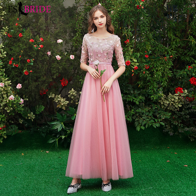 Long Simple Bridesmaid Dresses New Arrival Pink Lace Short Sleeve Chiffon Cheap Wedding Party Dresses Bridesmaid Dress ES1286