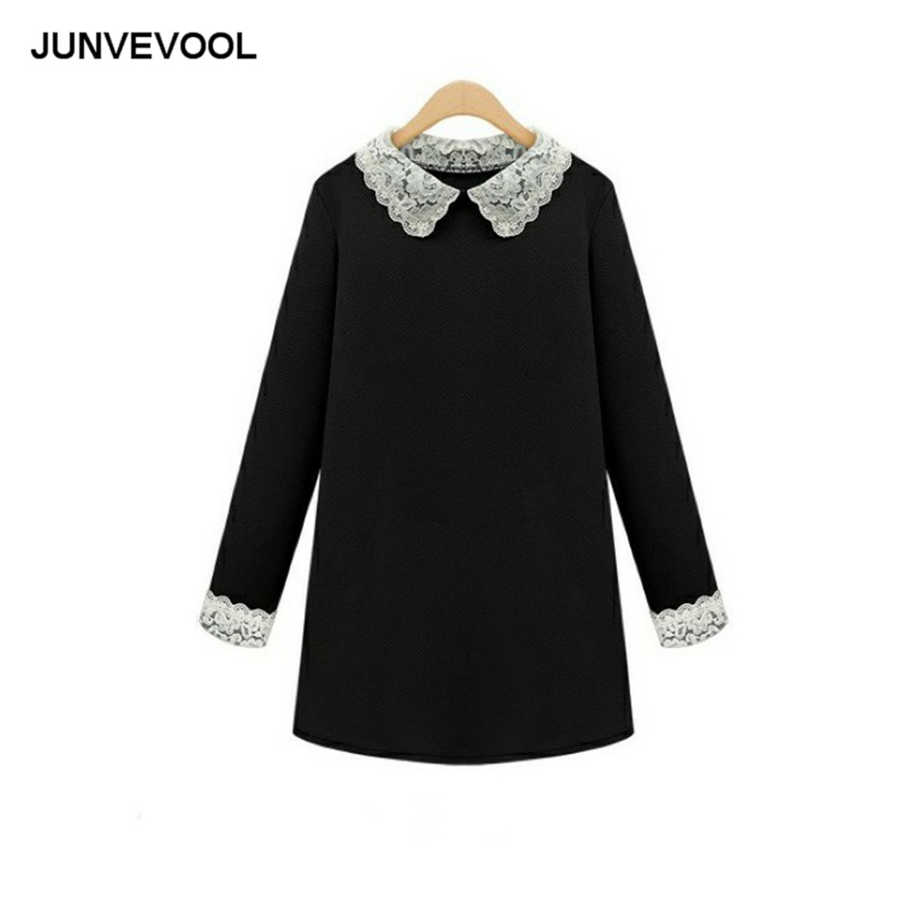 Black dress with white peter pan collar - Embroidery Hallow Dress Vintage Mini Peter Pan Collar Dresses Women Office Elegant Clothing Female Casual Loose