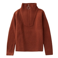 Толстый кашемировый свитер женский пуловер с высоким воротником Половина на молнии теплый свитер из чистого кашемира мягкий женский вязан