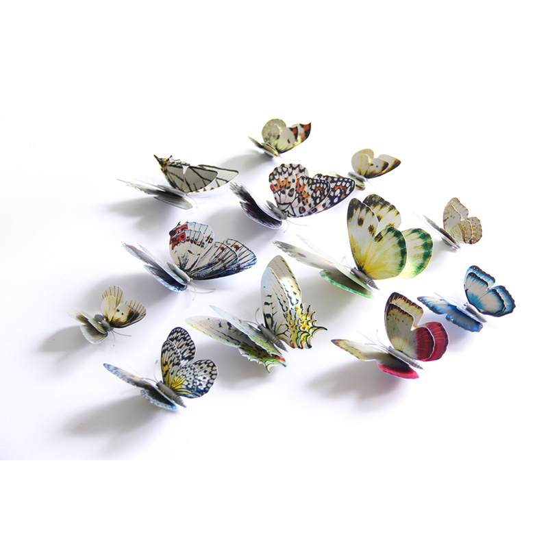12Pcs Gold Silver Double layer 3D Butterfly Wall Sticker Home decoration Holographic Butterflies on wall Magnet Fridge stickers in Wall Stickers from Home Garden
