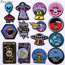 Prajna Star Wars Patches Iron On Astronauts Aliens UFO Patch Fashion Embroidered For Clothes Stickers Applique Decor DIY