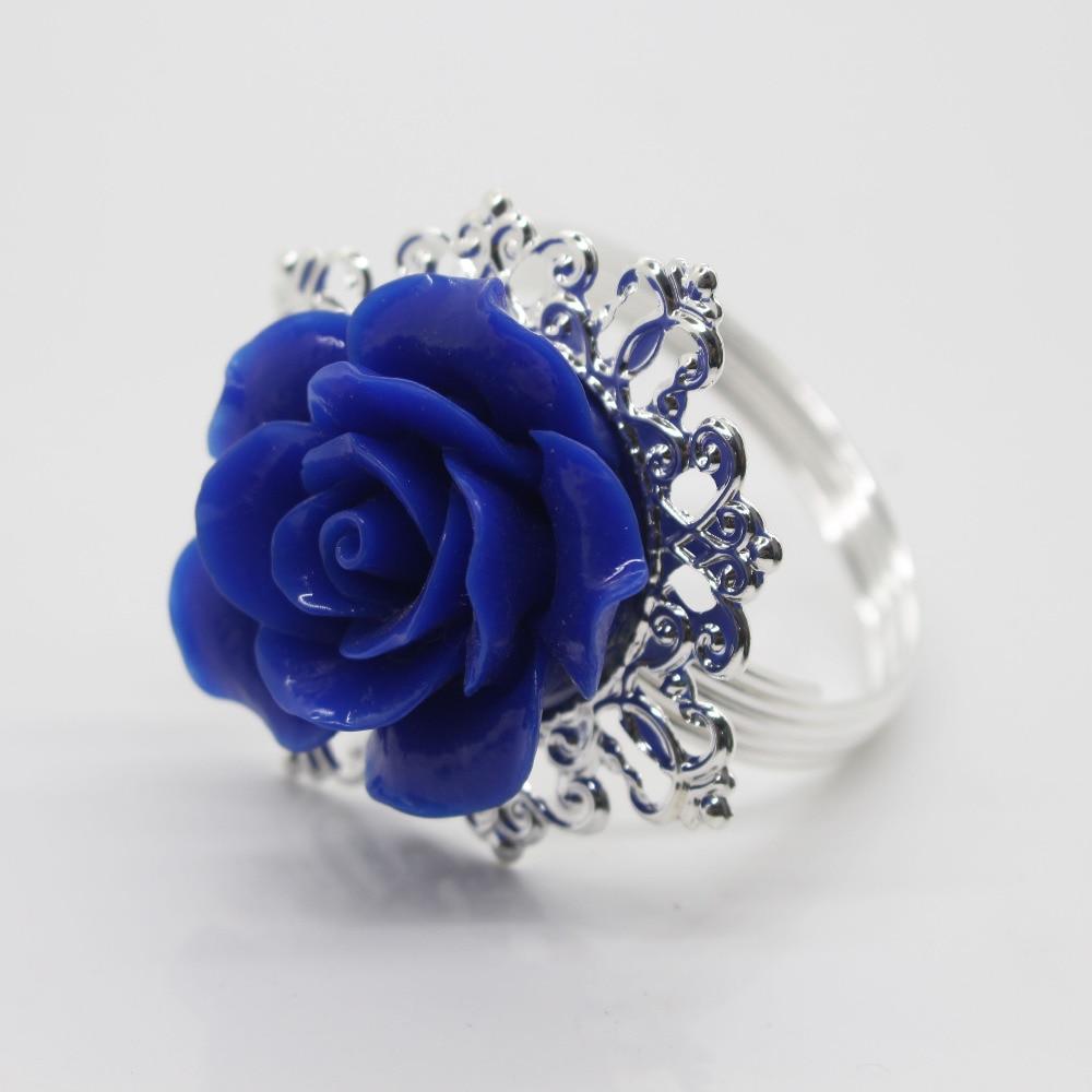 Новый 10 шт. Синий Смола Роуз железные кольца для салфеток партии развлекать свадебные салфетки ткань декоративная вычет стол банкетный ужи...
