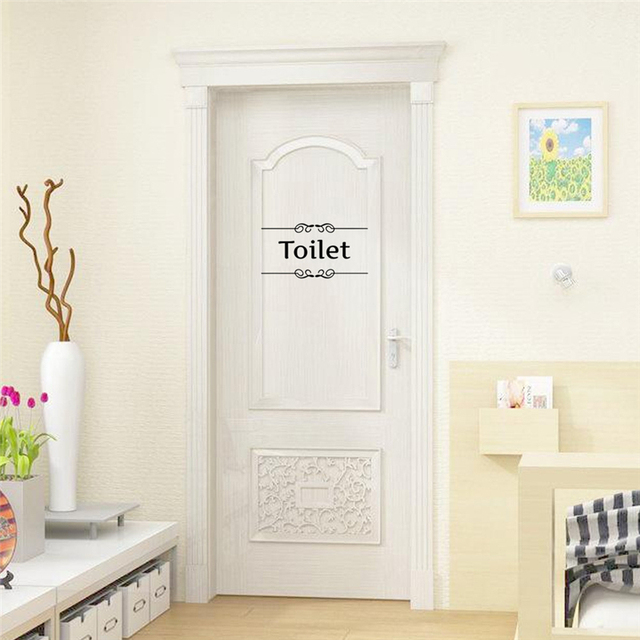 [Hot New Product] Text Wall Stickers Toilet Bathroom Door Vinyl Classic Black And White Decorationl Art Stickers Free Shipping 2