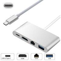 Mayitr 1pc 4 In 1 USB C USB 3 1 Type C To HDMI 4K RJ45