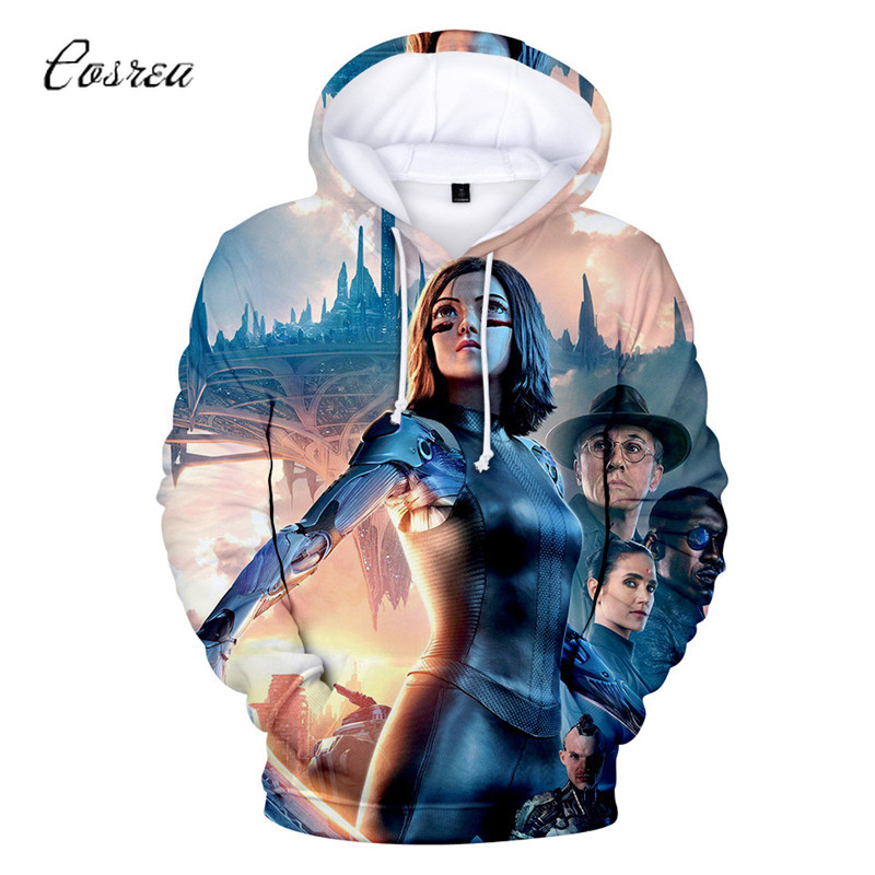 Movie Alita :Battle Angel Pullover Child Hoodie Sweatshirt Cropped Hoodie Long Sleeve Top Cosplay Costume Halloween Girl Hoodies