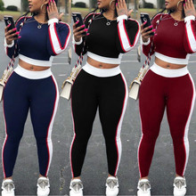 Womens 2019 new Autumn Tracksuit Long Sleeve Thicken Hooded Sweatshirts 2 Piece Set Casual Sport Suit Women