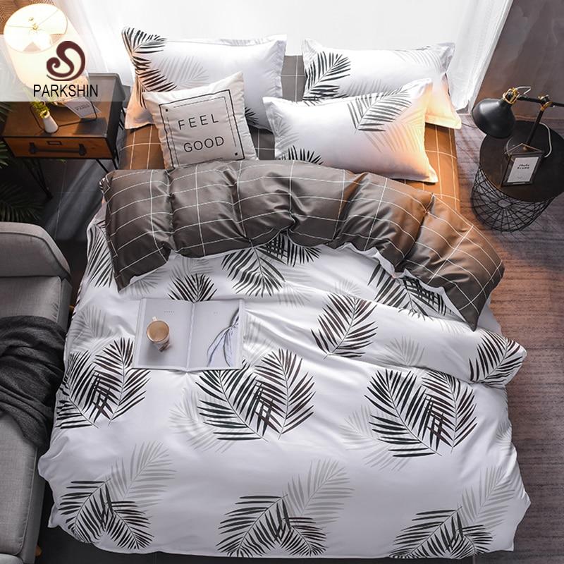 ParkShin Nordic Leaf Brief Style Duvet Cover Set Double Flat Sheet Comforter Cover Bedspread Bedclothes Decorative Bed Linen Set