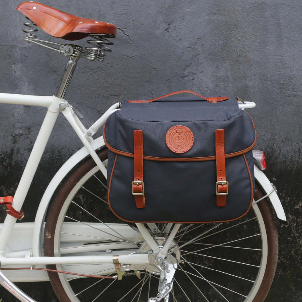 Tourbon Vintage Bicycle Pannier Bag Rear Rack Trunk Retro Bike Backseat Luggage Double Roll up Bags