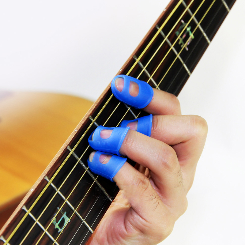 10Pcs/lot Guitar Finger Picks Fingers Cover For Ukulele Imported Anti-Slip Silicone Finger Picks Protector Guitar Accessories ...