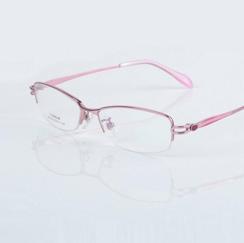 -138 femmes cadre de verre pour dames ultra lumière titanium demi jante optique de prescription myopie Femme lunettes de lecture monture lunettes