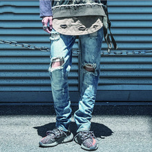 Men Denim Jeans Mid-weight Straight Male Jeans Pants Casual cowboy Style Men white aestheic revolution Hole Jeans