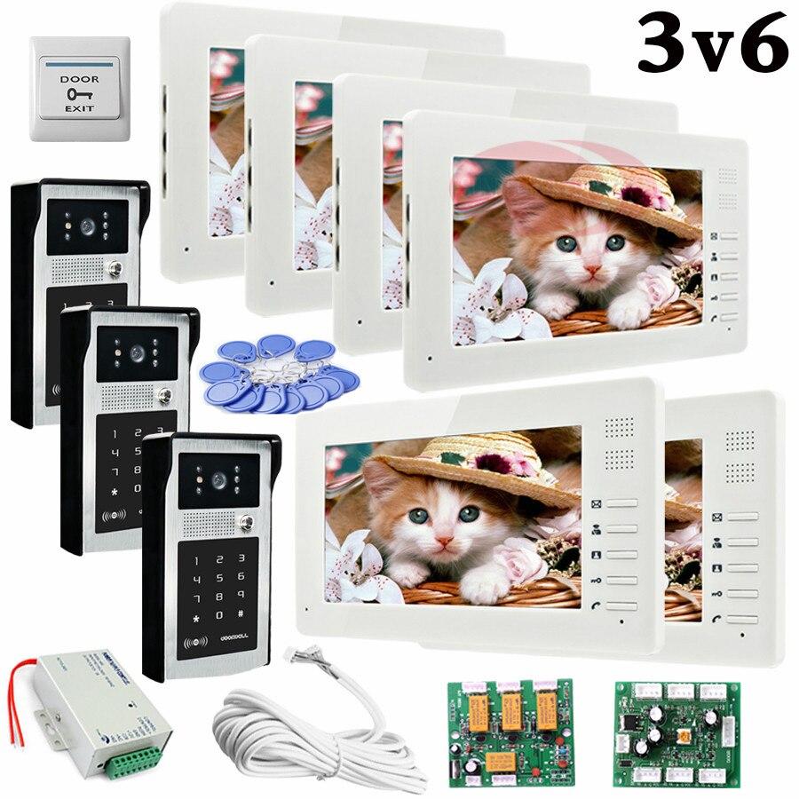 Apartment 3 Doors HD 700lines Cameras Password And RFID Cards Unlock 6 Color 7 Monitors Video Intercom System Bells Door phones my apartment