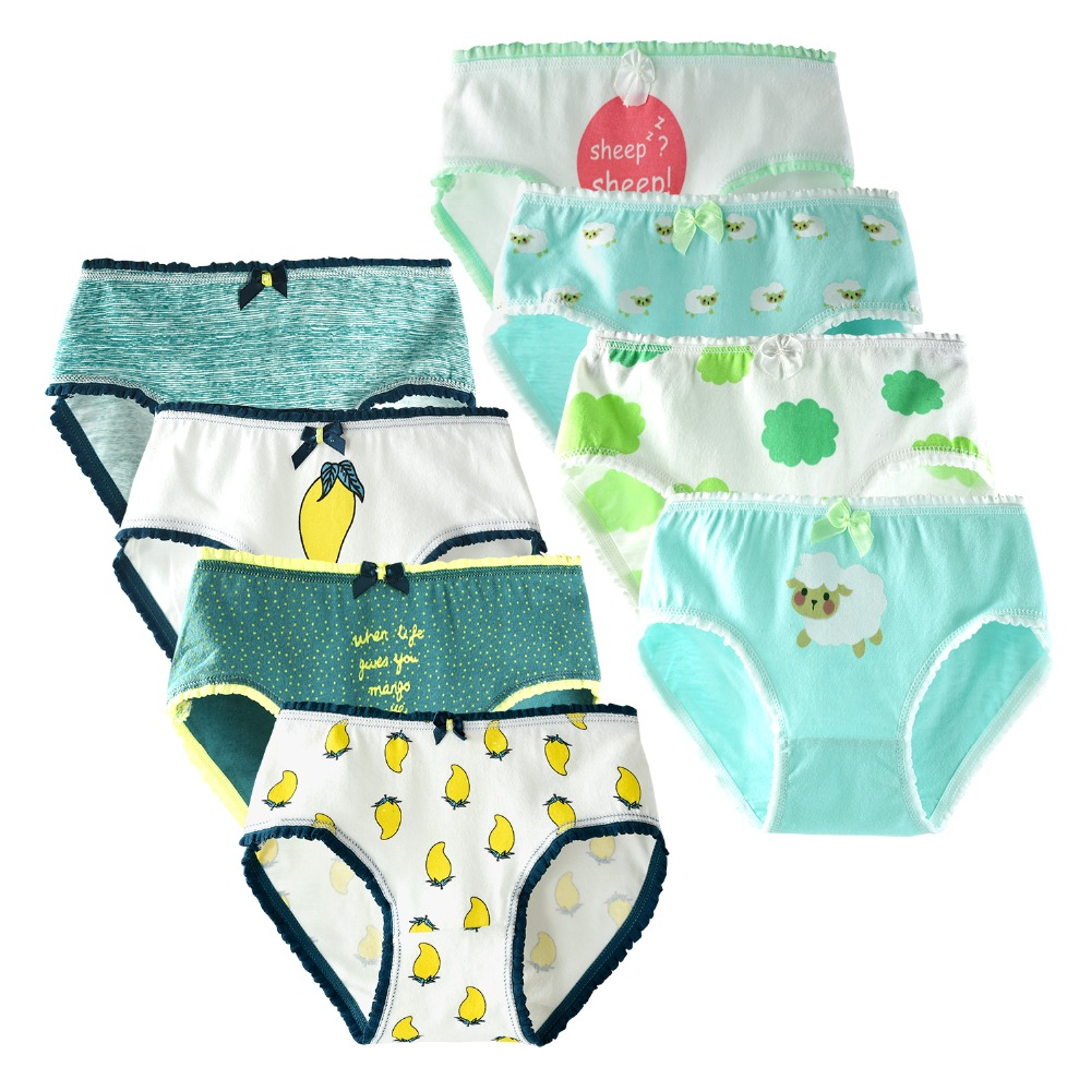 цена 8 Piece/lot Cartoon Kids Underwear Soft Cotton Girls Briefs Children Panties for Girls Baby Panties Children Clothing