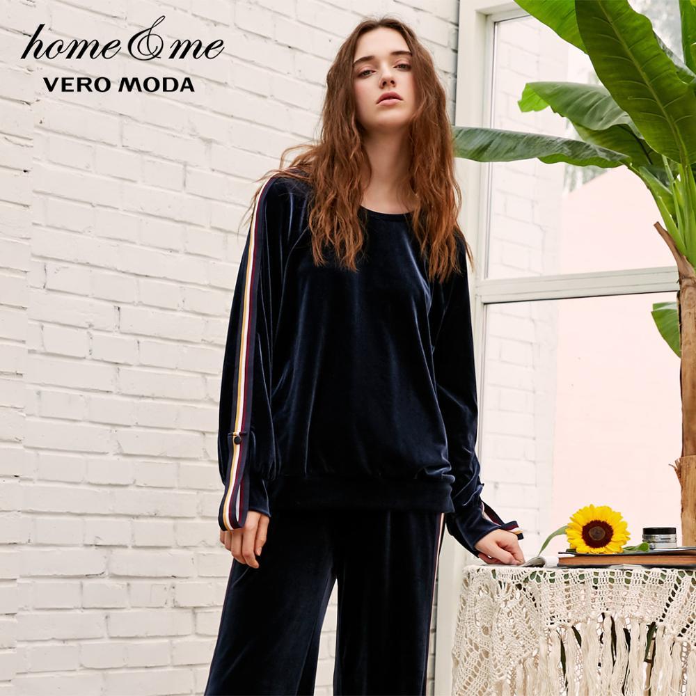 Vero Moda Autumn Striped Velvet Casual Sweat Hoodies   3184R3501