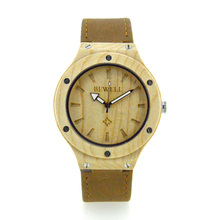 BEWELL Casual Men Quartz Wristwatch Wood Case Leather Band Luxury Top Brand 2016 Women Watches Relogio Feminino Gifts Box 121A