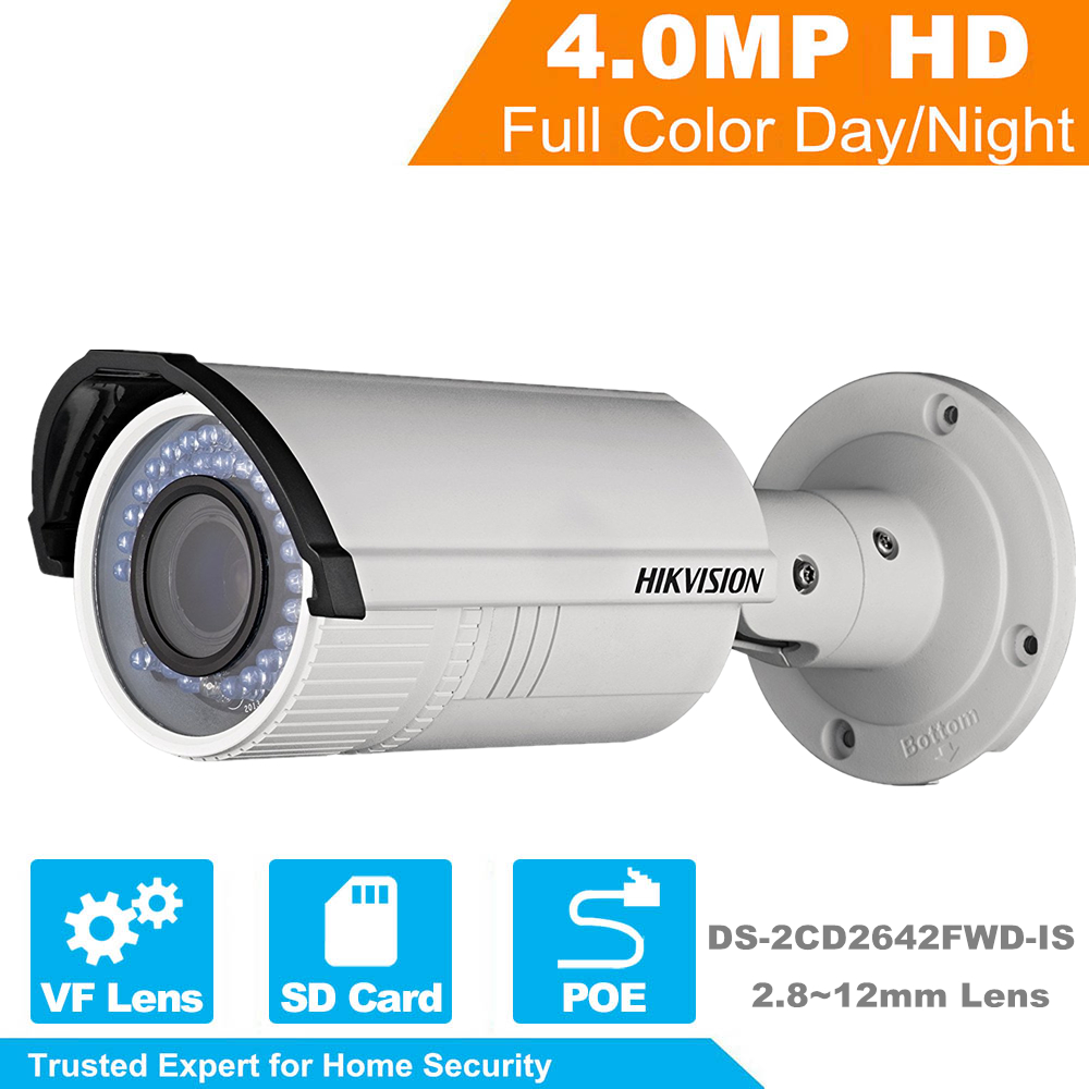 HIKVISION Wholesale English Version IP Camera DS-2CD2642FWD-IS 4MP HD 1080p IR bullet Network Camera IR POE IP Camera 2.8~12mm leds c4 suite 05 0380 bw b8
