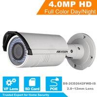 Hikvision al por mayor IP Cámara DS-2CD2642FWD-IS 4MP HD 1080 p ir Bullet cámara de red ir Poe cámara IP 2.8 ~ 12mm