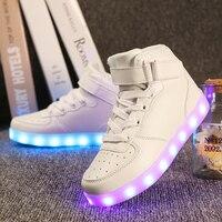 Quality 7 Colors Men LED Shoes 2016 Autumn Winter High Top Growing Shoes For Man Luminous