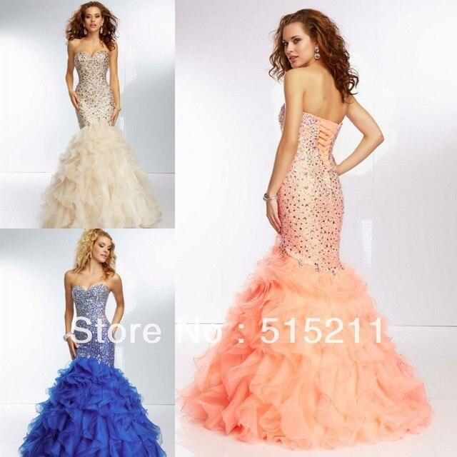 Gorgeous Beaded Sweetheart Ruffles Corset Mermaid Prom Dresses ...