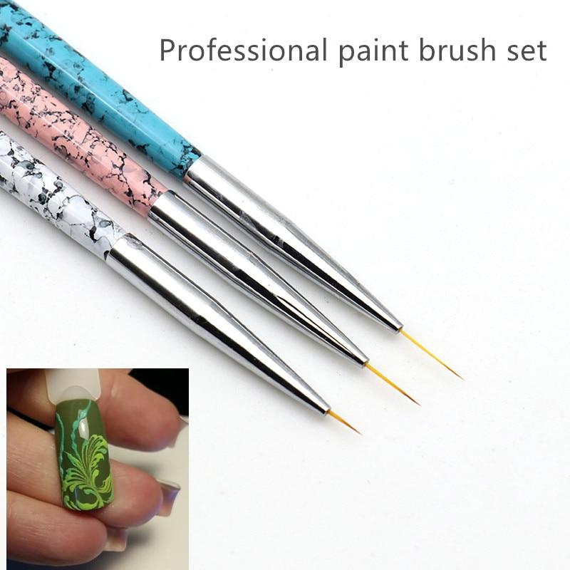 3pcs Fine Professional Paint Brush Set Liner Pens Metal Handle Polish Painting Drawing Kolinsky Nail Art Brushes Thin