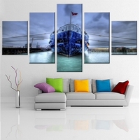 Frameless Seascape Sailing Boat Europe Art Canvas Painting Waterproof For Living Room Decorations Art Wall Decor